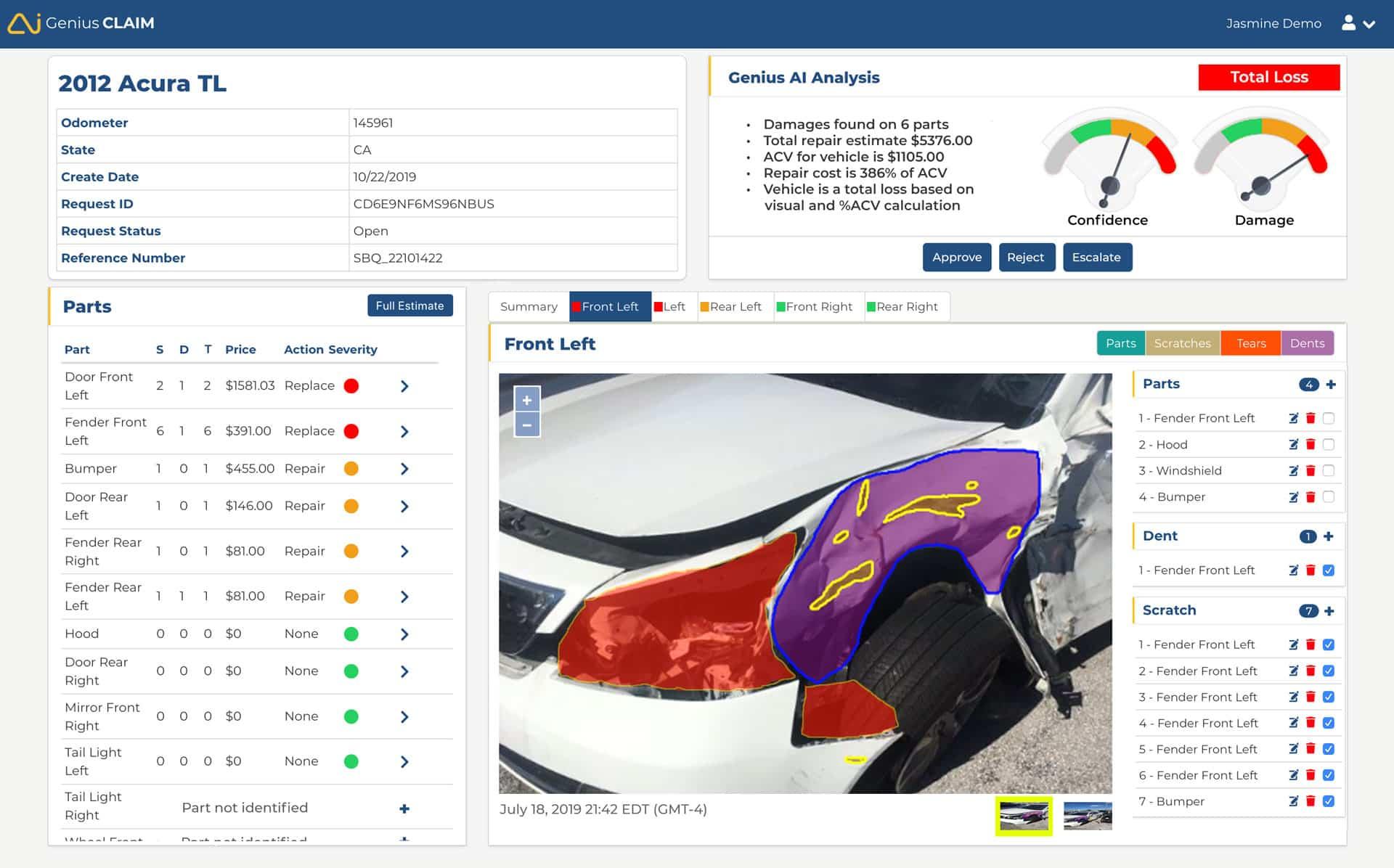 GeniusCLAIM Parts Analysis App Screenshot